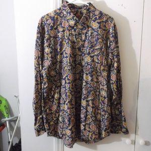 Alan Flusser Blue Floral Paisley Dress Shirt XL